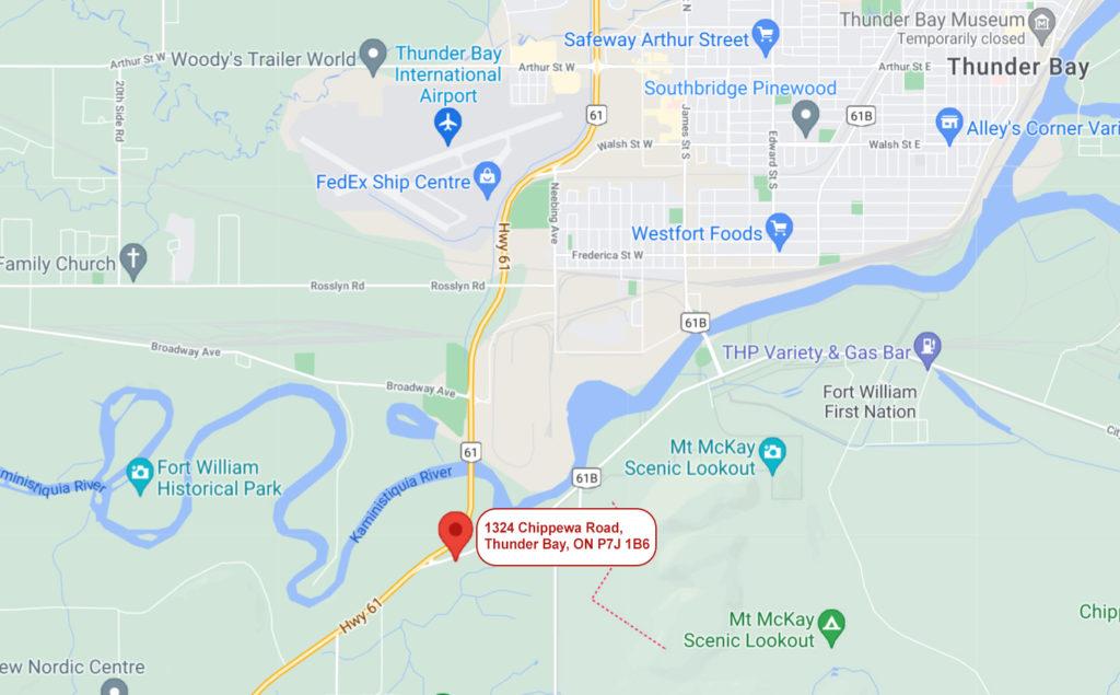 Northwestern Upholstery map location in Thunder Bay